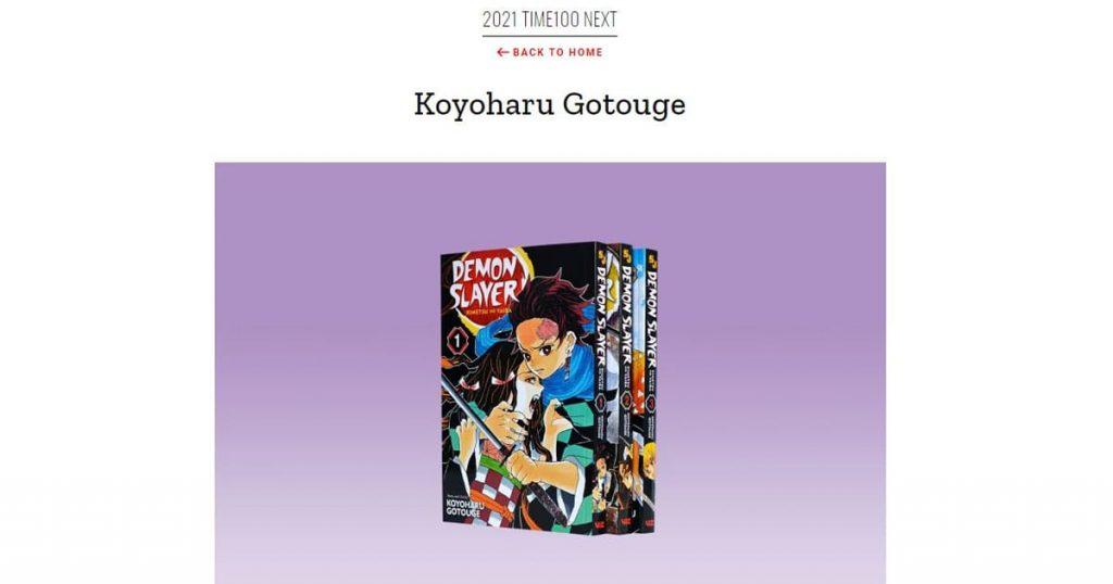 อาจารย์ Gotouge Koyoharu ถูกเลือกให้ติดอันดับผู้ทรงอิทธิพล TIME 100 Next